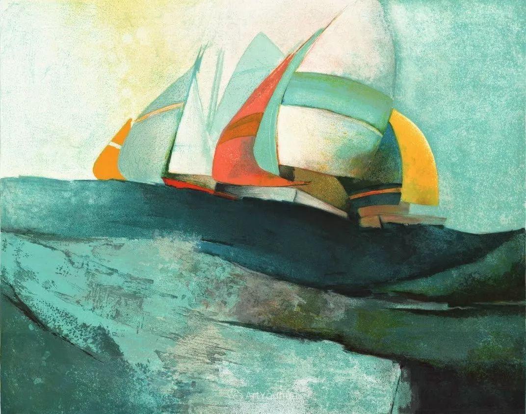 色彩和谐 色调鲜艳,法国抽象派装饰画家Claude Gaveau插图1