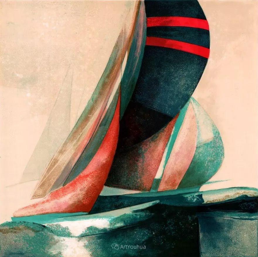色彩和谐 色调鲜艳,法国抽象派装饰画家Claude Gaveau插图2