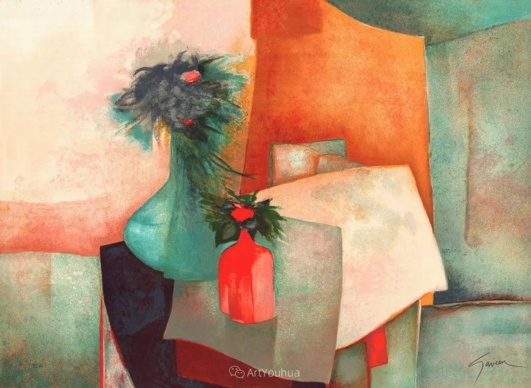 色彩和谐 色调鲜艳,法国抽象派装饰画家Claude Gaveau插图6