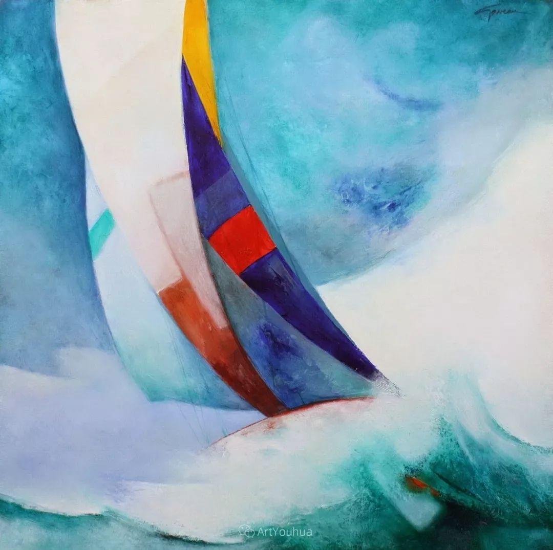 色彩和谐 色调鲜艳,法国抽象派装饰画家Claude Gaveau插图17