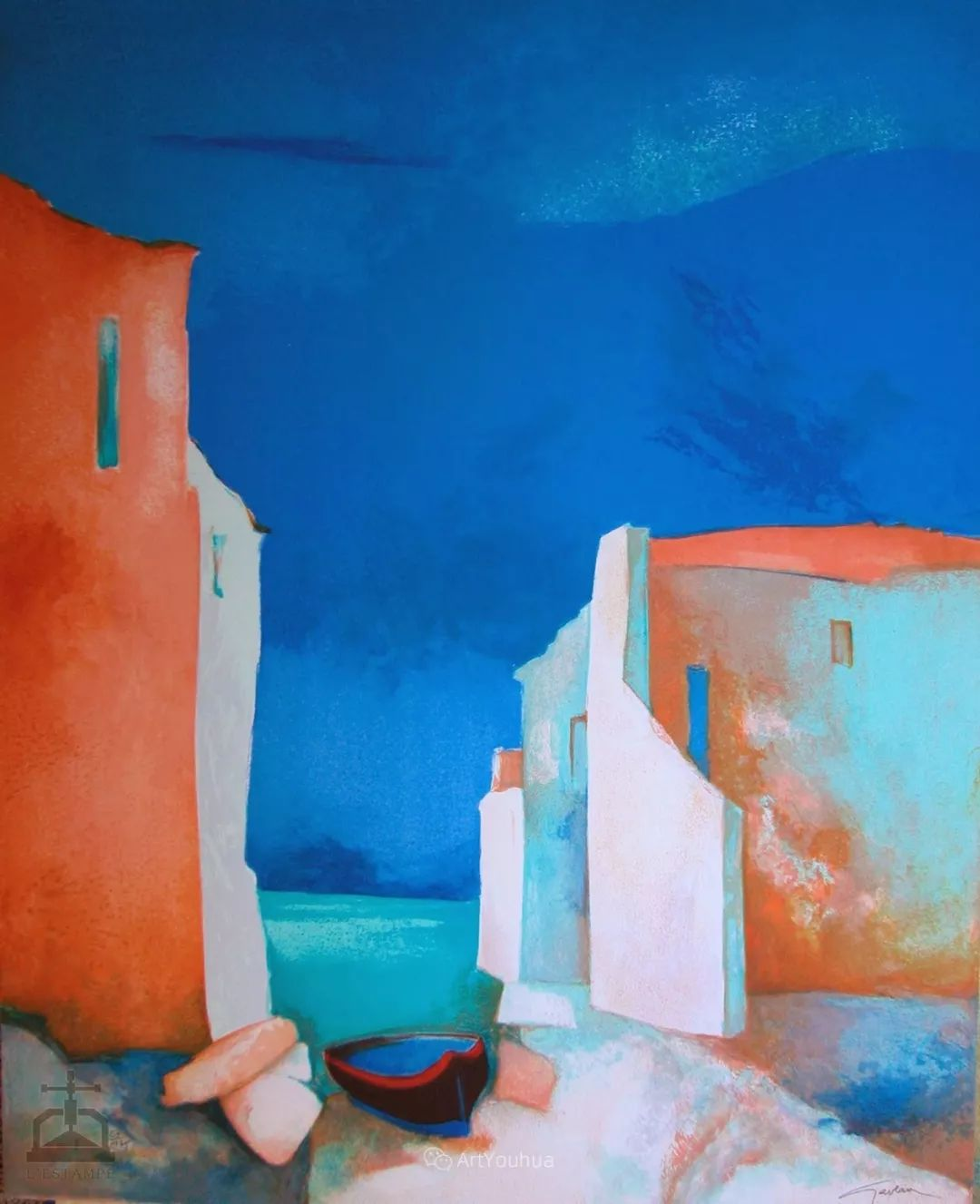 色彩和谐 色调鲜艳,法国抽象派装饰画家Claude Gaveau插图19