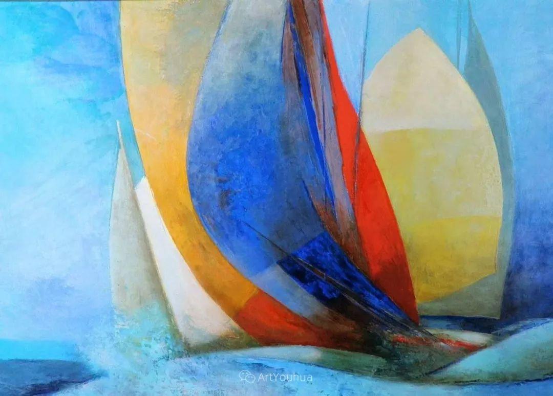 色彩和谐 色调鲜艳,法国抽象派装饰画家Claude Gaveau插图20