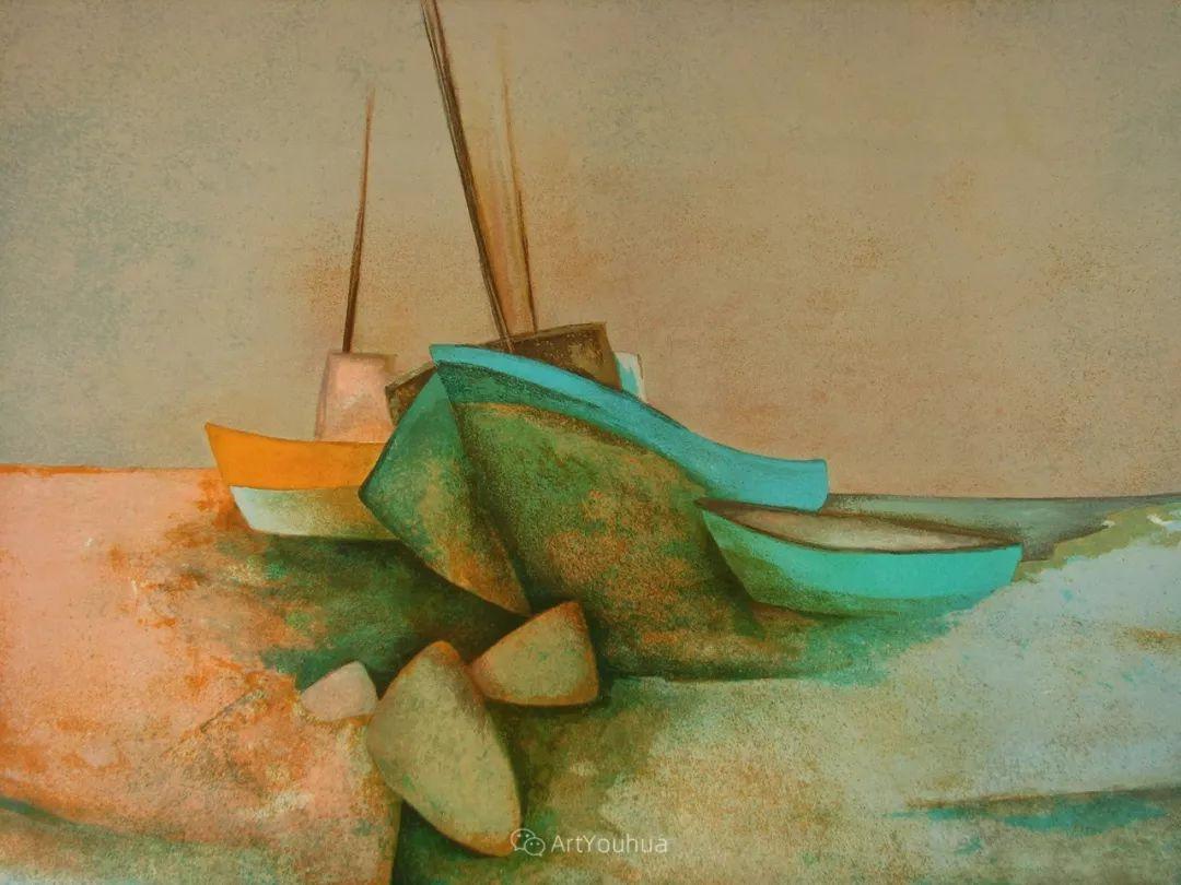 色彩和谐 色调鲜艳,法国抽象派装饰画家Claude Gaveau插图21