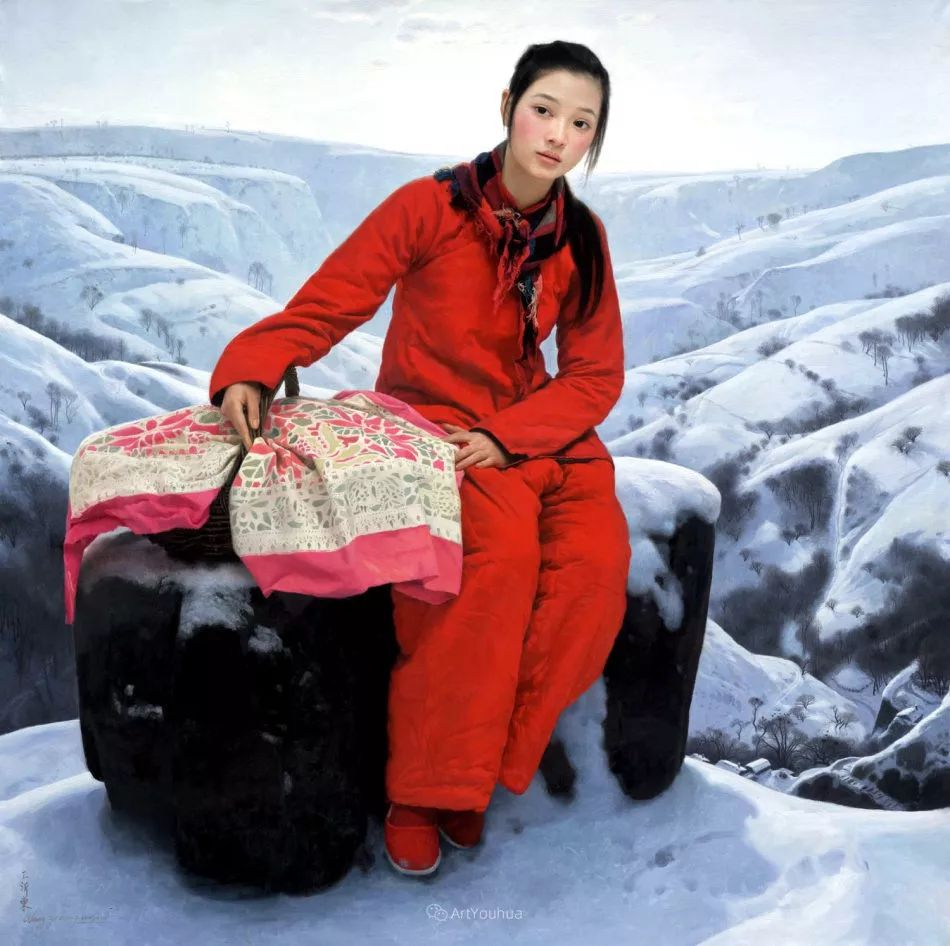 喜庆的中国红,王沂东红衣女子油画,美!插图1