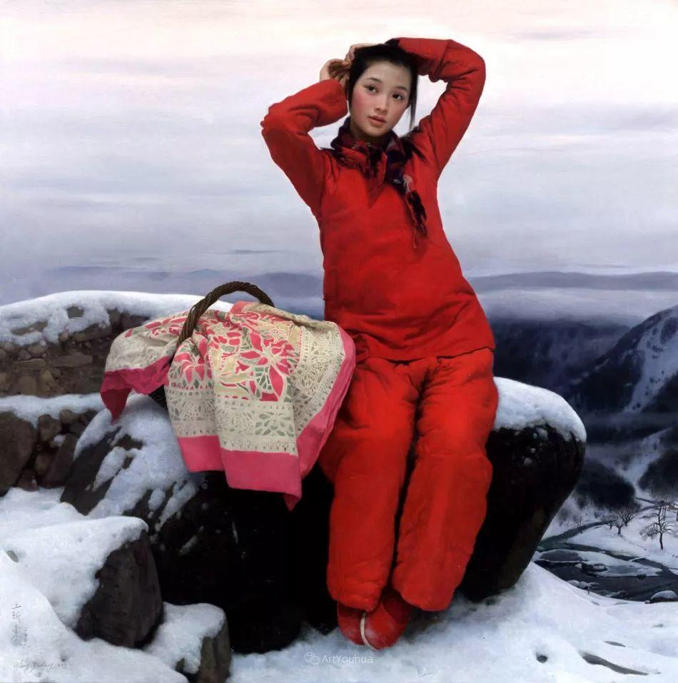 喜庆的中国红,王沂东红衣女子油画,美!插图4