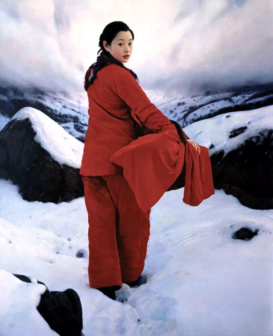 喜庆的中国红,王沂东红衣女子油画,美!插图5