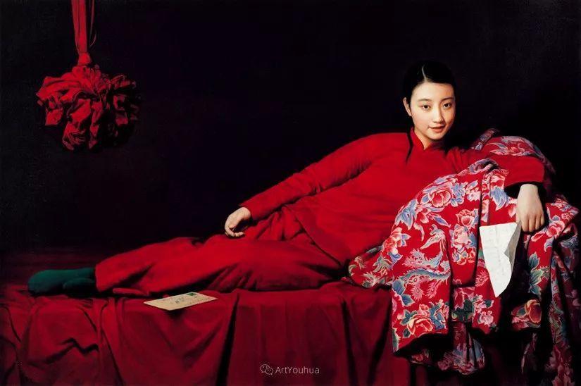 喜庆的中国红,王沂东红衣女子油画,美!插图7
