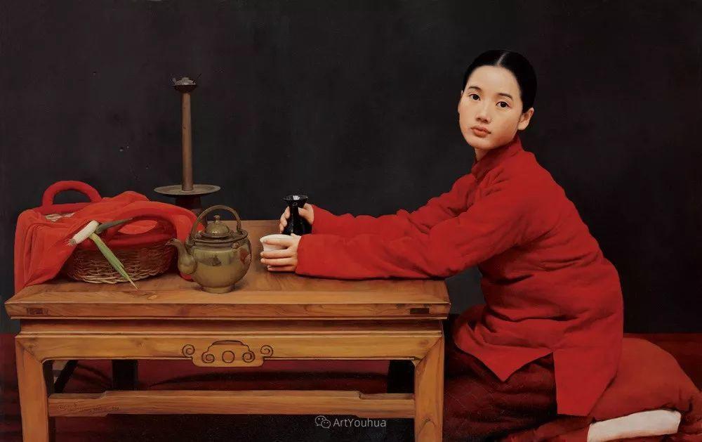 喜庆的中国红,王沂东红衣女子油画,美!插图8