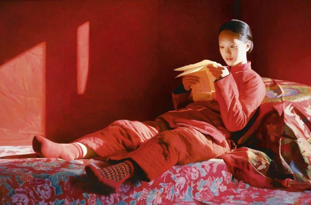 喜庆的中国红,王沂东红衣女子油画,美!插图9