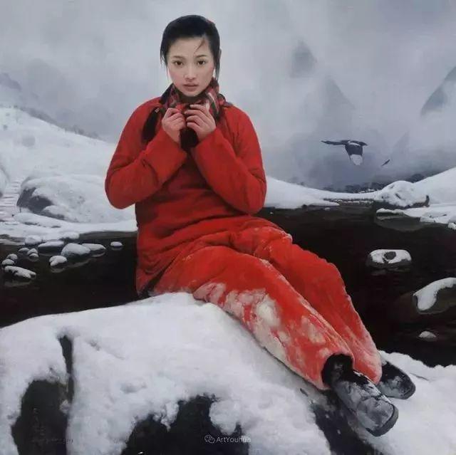 喜庆的中国红,王沂东红衣女子油画,美!插图10