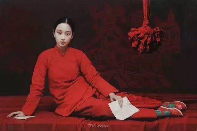 喜庆的中国红,王沂东红衣女子油画,美!插图11