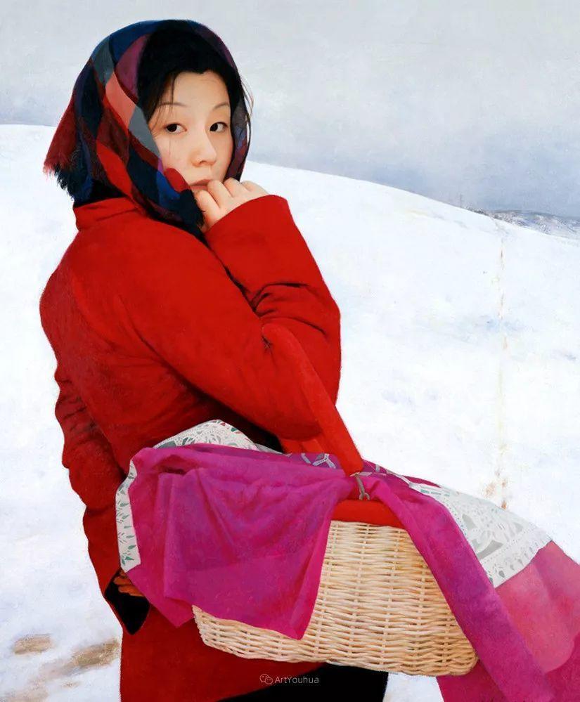 喜庆的中国红,王沂东红衣女子油画,美!插图13