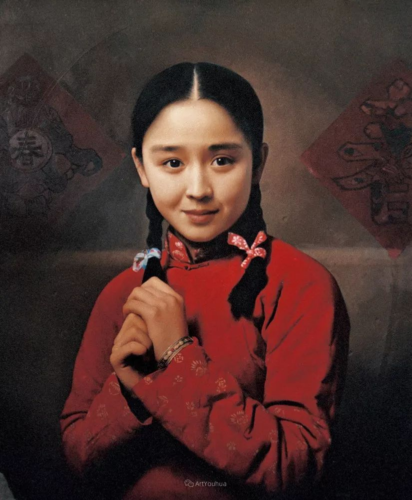 喜庆的中国红,王沂东红衣女子油画,美!插图14