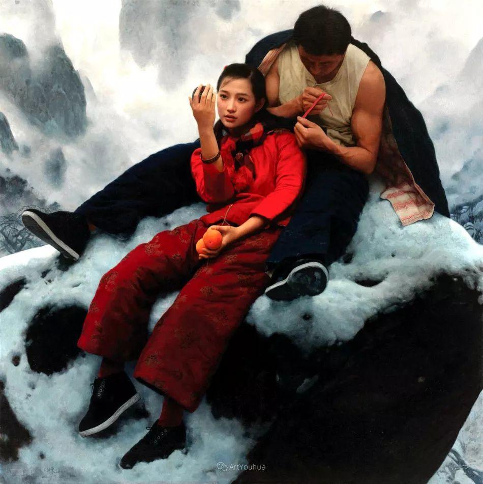 喜庆的中国红,王沂东红衣女子油画,美!插图15