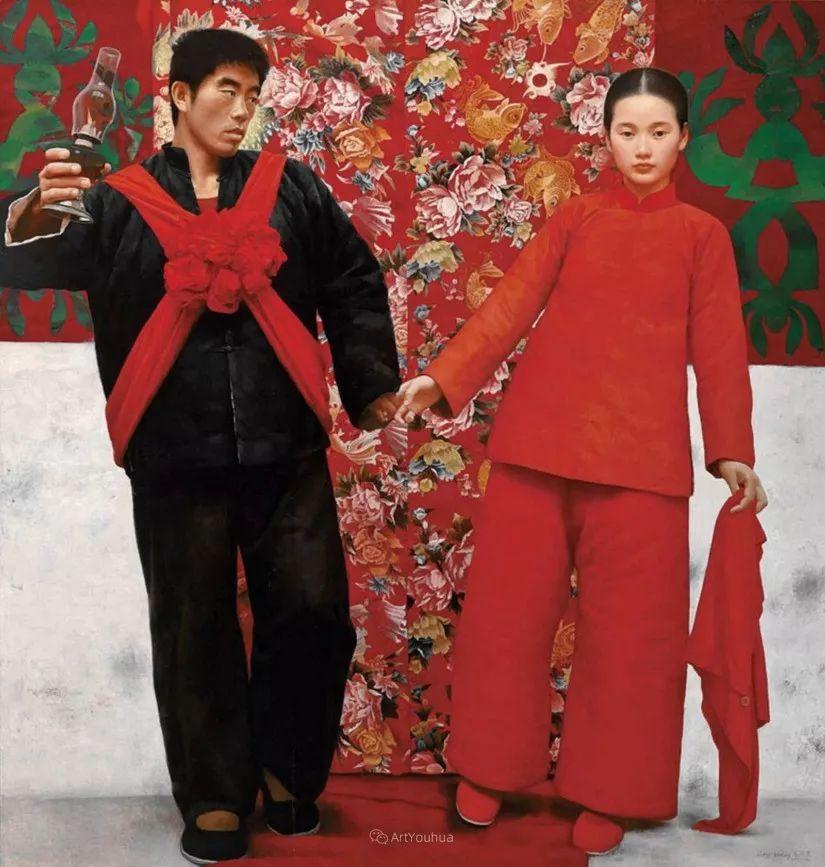 喜庆的中国红,王沂东红衣女子油画,美!插图16