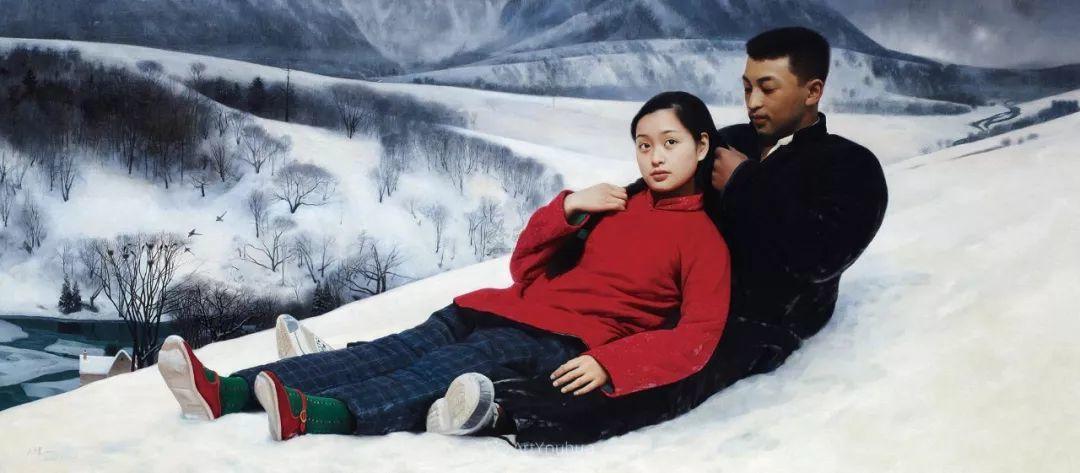 喜庆的中国红,王沂东红衣女子油画,美!插图17