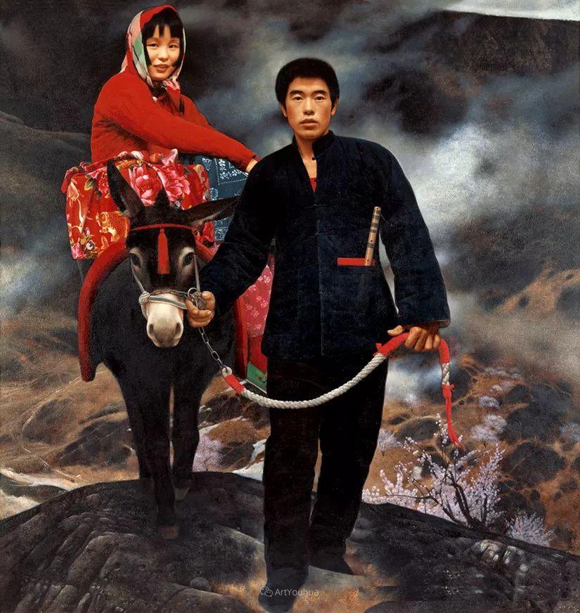喜庆的中国红,王沂东红衣女子油画,美!插图18