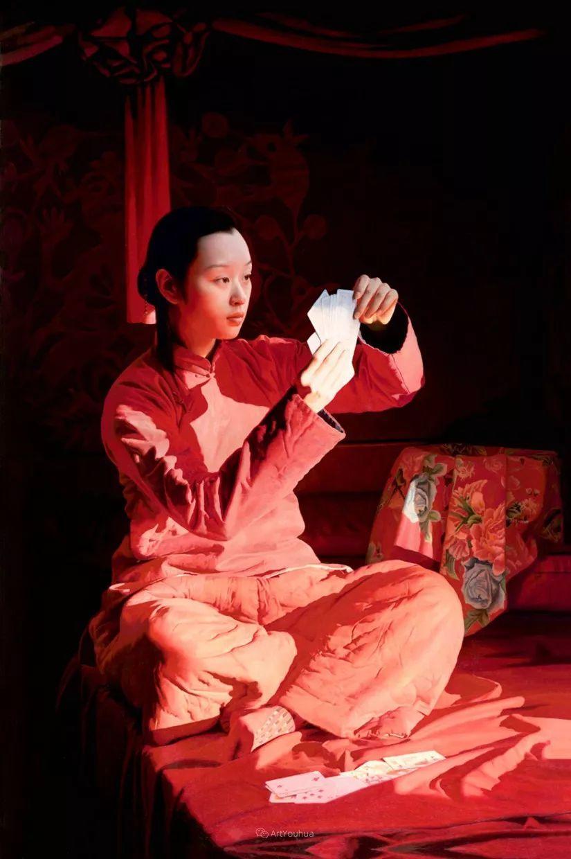喜庆的中国红,王沂东红衣女子油画,美!插图20