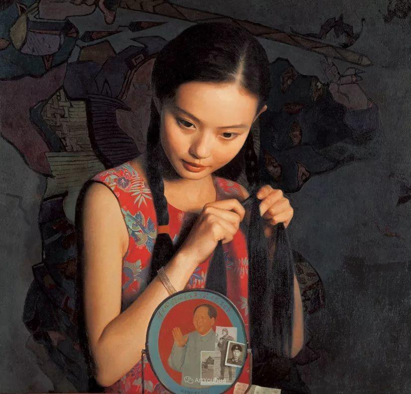 喜庆的中国红,王沂东红衣女子油画,美!插图21