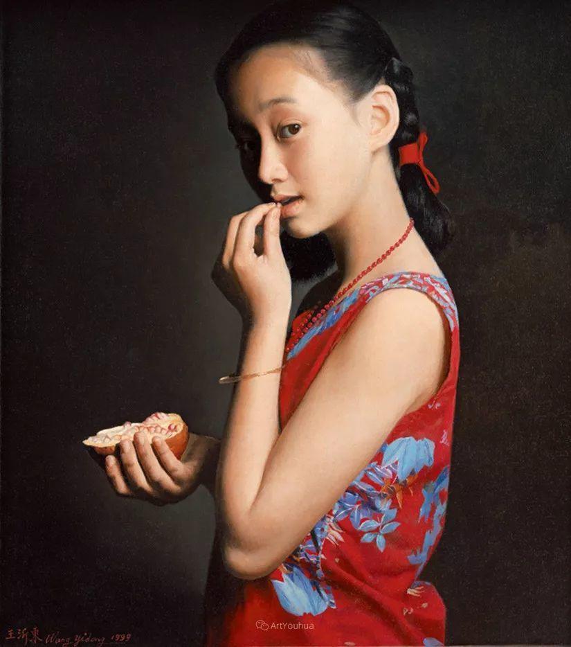 喜庆的中国红,王沂东红衣女子油画,美!插图22