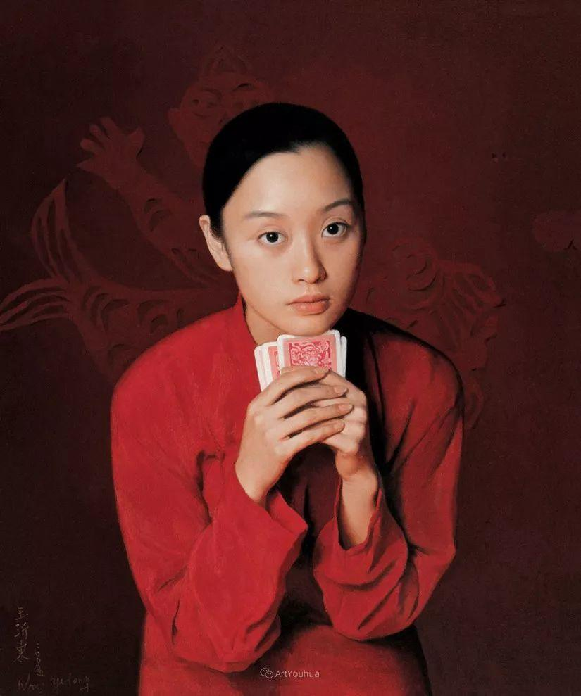 喜庆的中国红,王沂东红衣女子油画,美!插图23