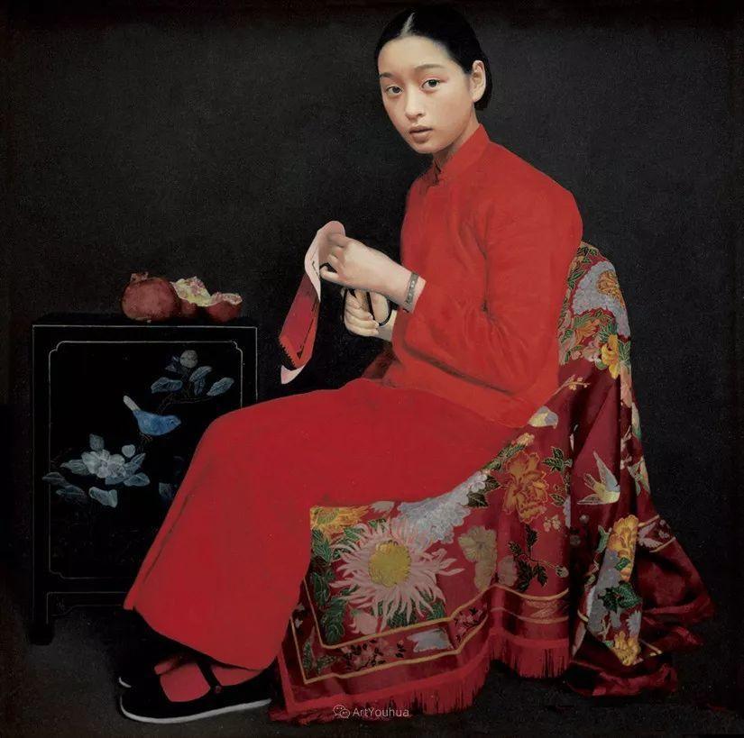 喜庆的中国红,王沂东红衣女子油画,美!插图24