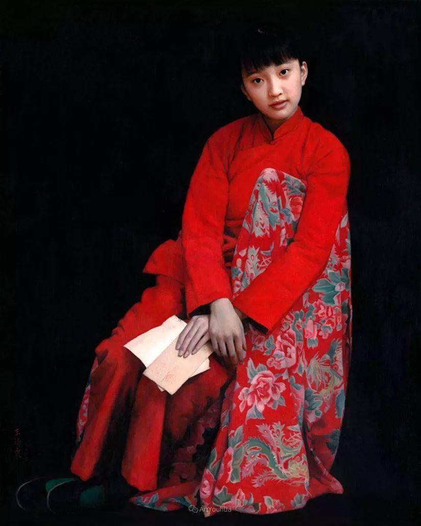 喜庆的中国红,王沂东红衣女子油画,美!插图25