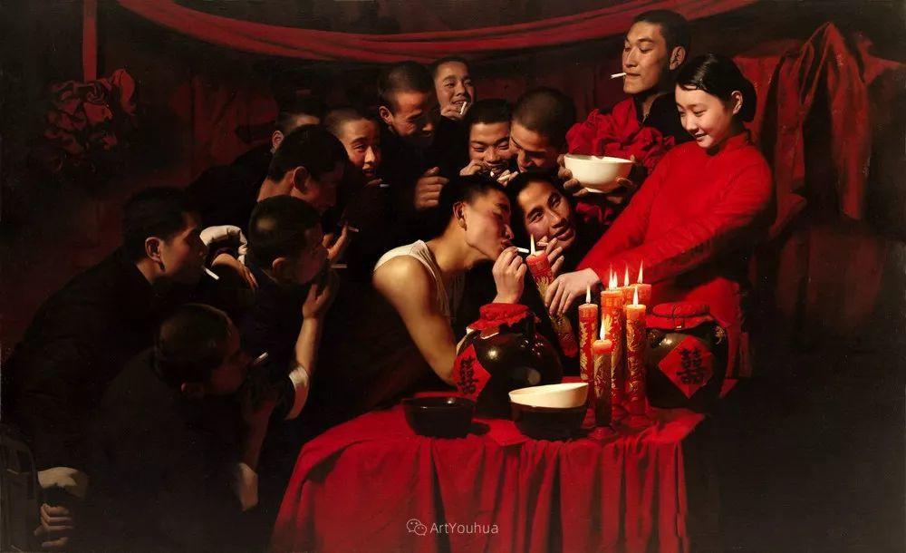 喜庆的中国红,王沂东红衣女子油画,美!插图26