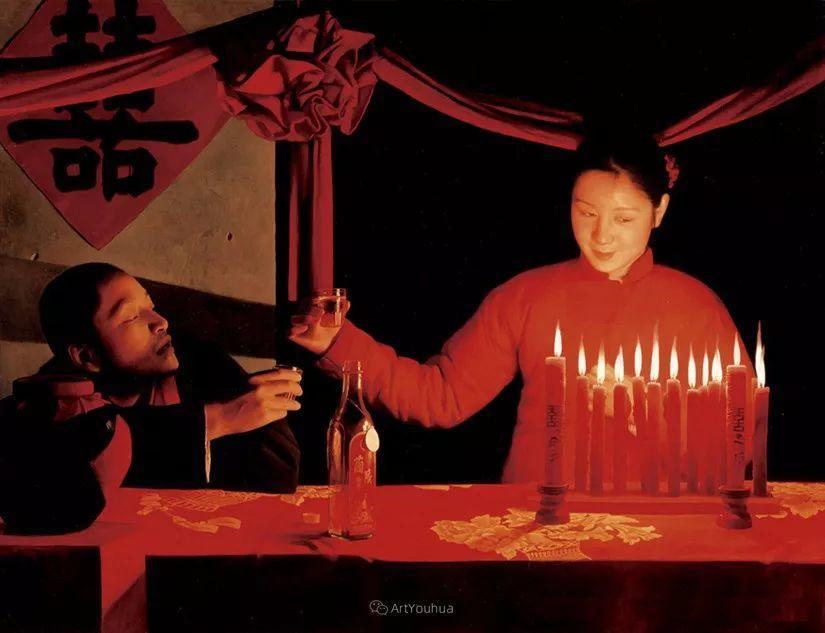 喜庆的中国红,王沂东红衣女子油画,美!插图27