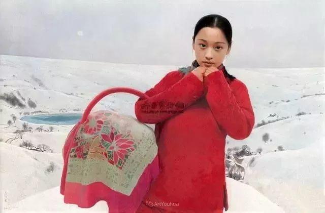 喜庆的中国红,王沂东红衣女子油画,美!插图28