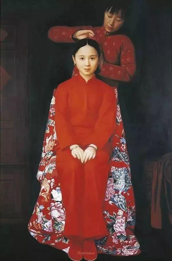 喜庆的中国红,王沂东红衣女子油画,美!插图30