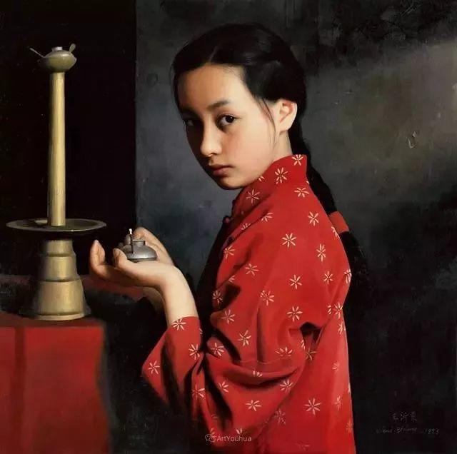 喜庆的中国红,王沂东红衣女子油画,美!插图31