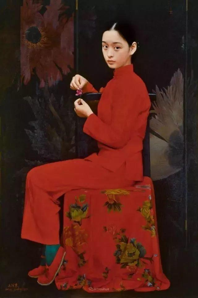 喜庆的中国红,王沂东红衣女子油画,美!插图32