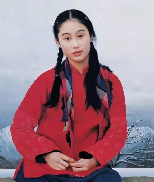 喜庆的中国红,王沂东红衣女子油画,美!插图33