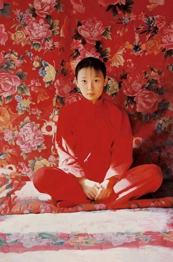 喜庆的中国红,王沂东红衣女子油画,美!插图34