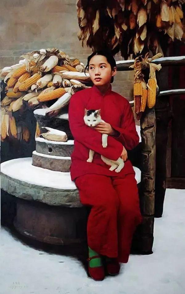 喜庆的中国红,王沂东红衣女子油画,美!插图35