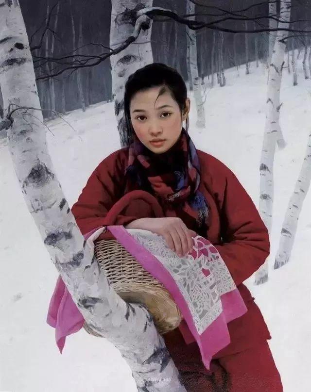 喜庆的中国红,王沂东红衣女子油画,美!插图36