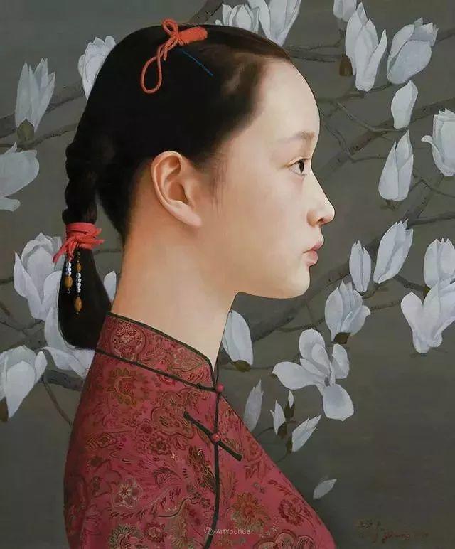 喜庆的中国红,王沂东红衣女子油画,美!插图39
