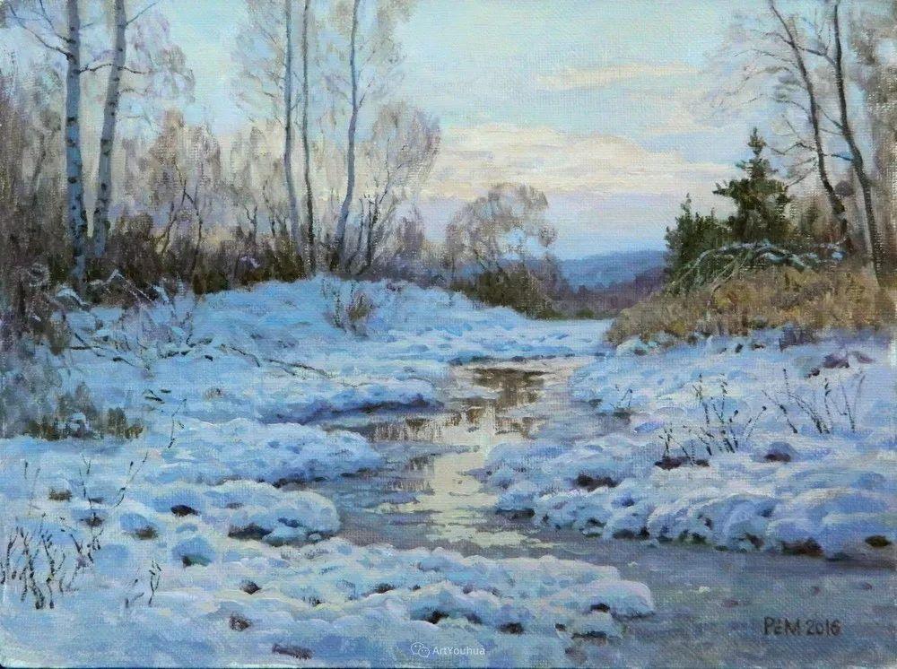 雪景油画 俄罗斯画家Rem Saifulmulukov插图1