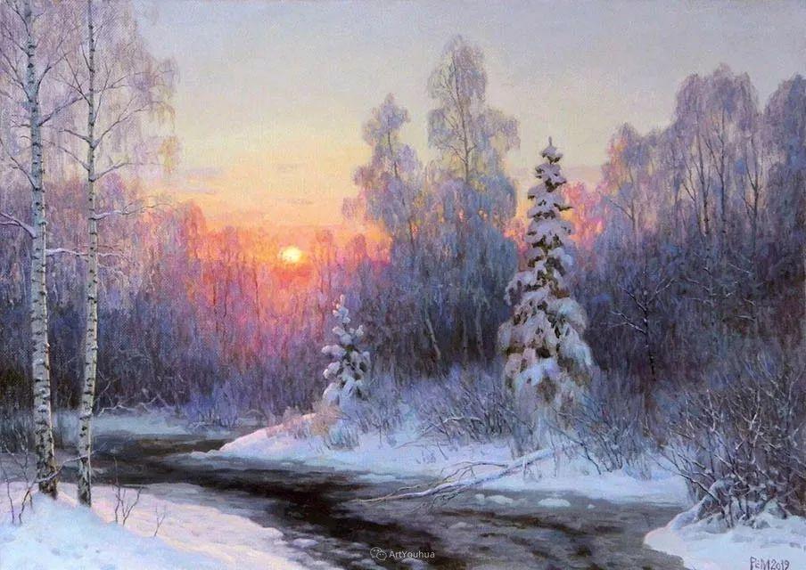 雪景油画 俄罗斯画家Rem Saifulmulukov插图3