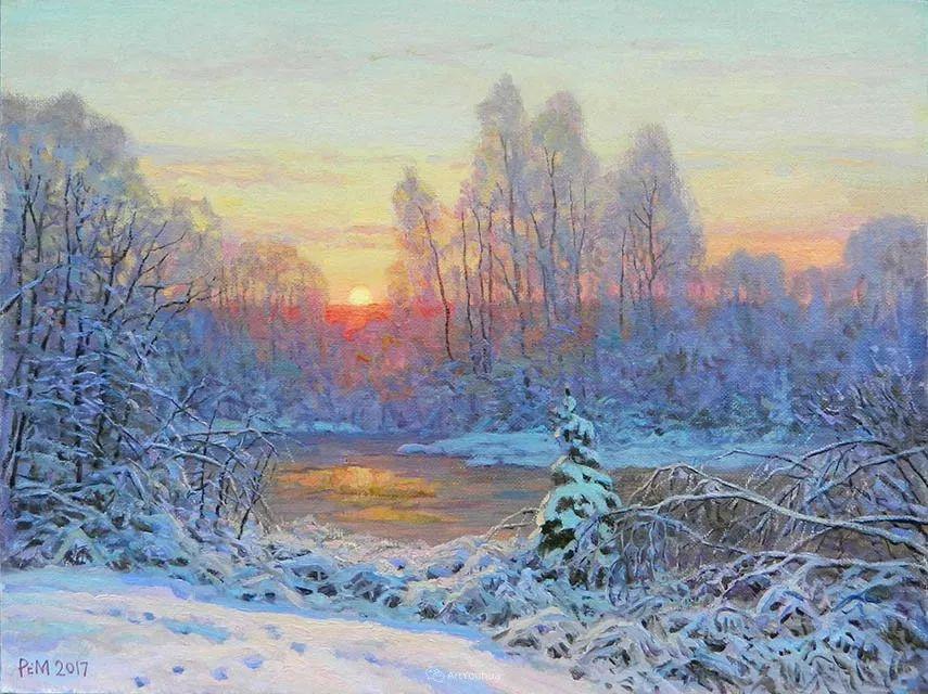 雪景油画 俄罗斯画家Rem Saifulmulukov插图7