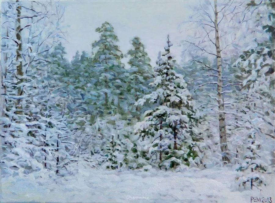 雪景油画 俄罗斯画家Rem Saifulmulukov插图11