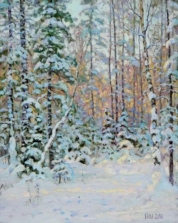 雪景油画 俄罗斯画家Rem Saifulmulukov插图35
