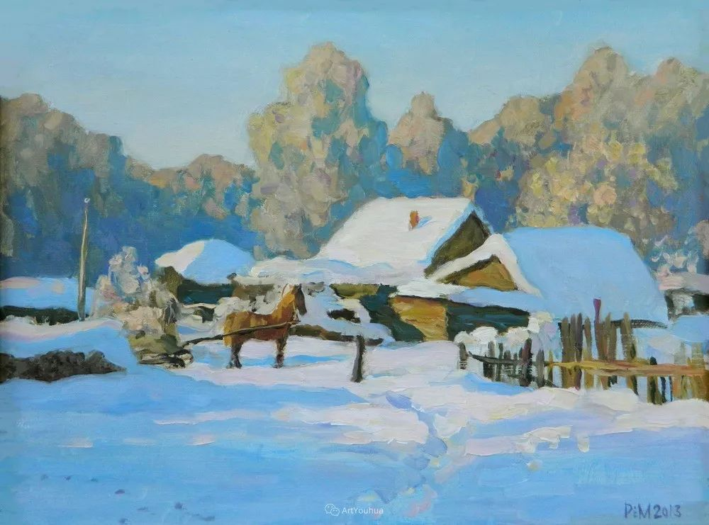 雪景油画 俄罗斯画家Rem Saifulmulukov插图39