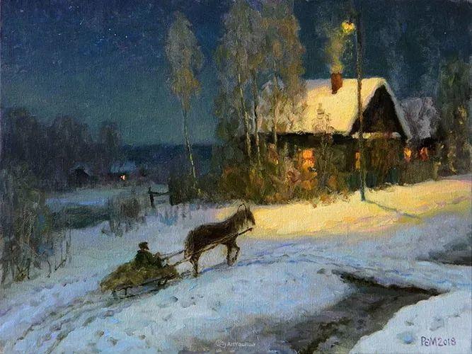 雪景油画 俄罗斯画家Rem Saifulmulukov插图41