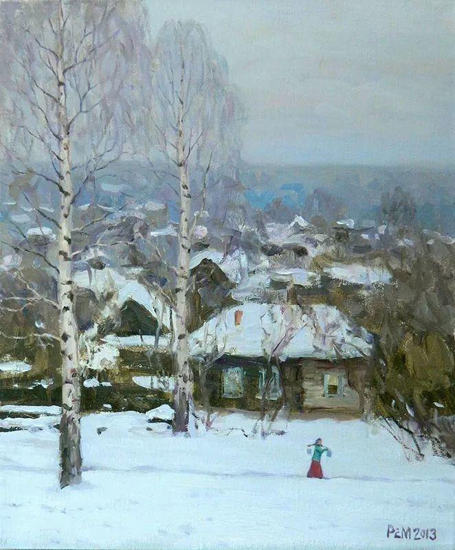 雪景油画 俄罗斯画家Rem Saifulmulukov插图43