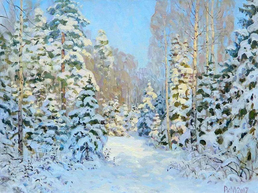 雪景油画 俄罗斯画家Rem Saifulmulukov插图67