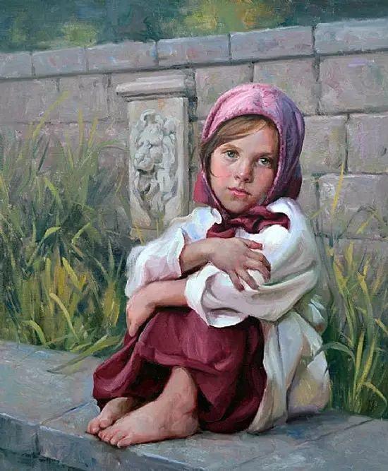 油画中的少女优雅恬静插图