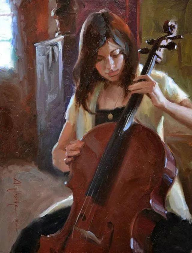 油画中的少女优雅恬静插图1