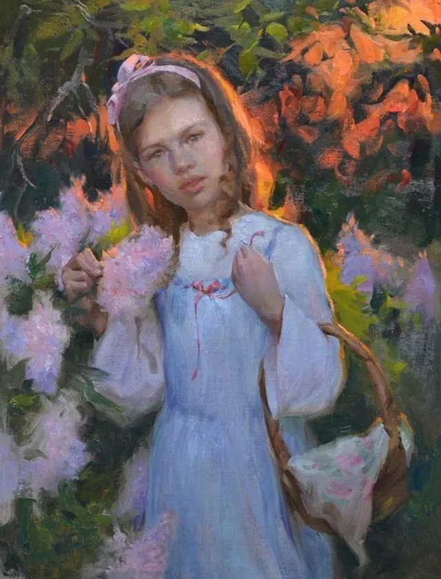 油画中的少女优雅恬静插图2